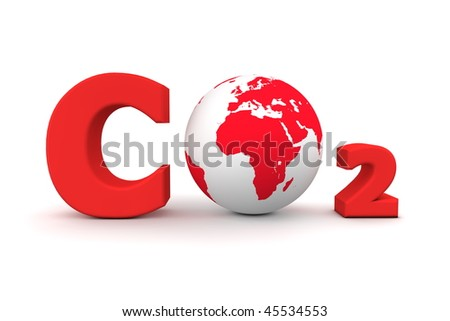 chemical symbol CO2 for carbon dioxide in red - a globe is replacing the letter o