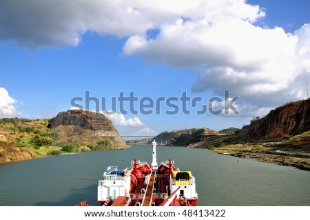 Chemical tanker going through the Panama Canal