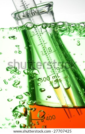 Chemical Test Tube . Chemical experiment with Laboratory glass. - stock photo