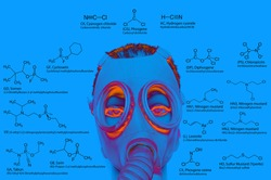 Chemical weapons. Chemical structures: sarin, tabun, soman, VX, lewisite, mustard gas, tear gas, chlorine, etc. Atoms represented as conventionally colored circles. military poisons
