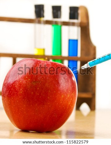Chemically altered red apple