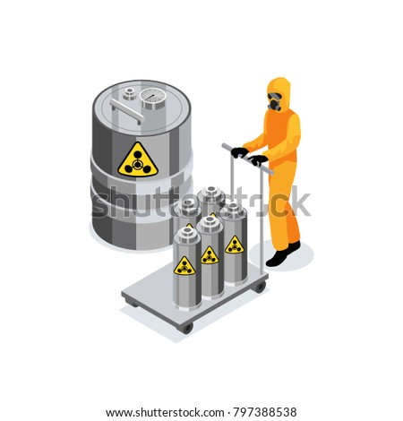 Chemicals composition with worker in chemical protection suit carrying trolley with nuclear radioactive fuel in vessels  illustration