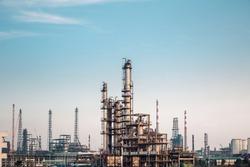 chemicals plant against a dusk sky , industrial landscape