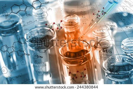 chemist dropping the clear reagent into test tube for reaction testing in chemical laboratory,  with chemical equations and periodic table background.