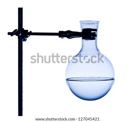 Chemist fixes flask on support isolated on white