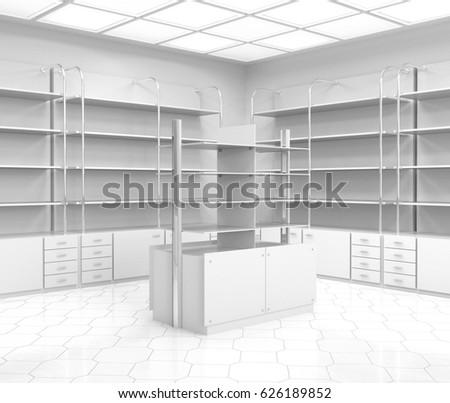 chemist's or drugstore empty shelves. 3D rendering