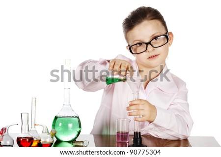 Chemistry girl wearing glasses - stock photo