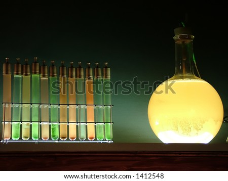 Chemistry glassware - stock photo
