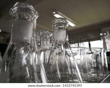 chemistry lab, glass equipment. scientific equipment in an industrial laboratory.