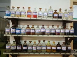 Chemistry Lab Reagent Bottles .