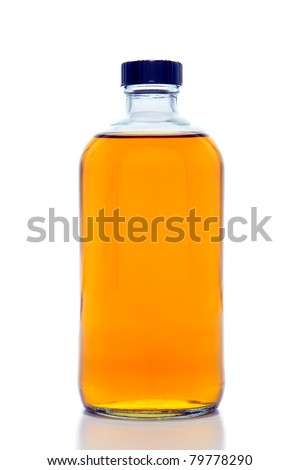 Chemistry laboratory glass bottle with safety screw cap filled with amber orange color chemical liquid solution for an experiment in a science research lab over white