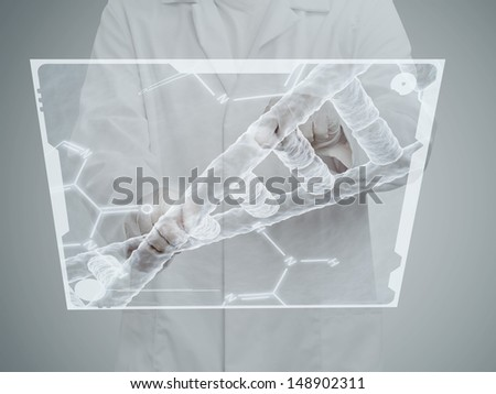 Chemistry researcher working on chemical molecular model on transparent display