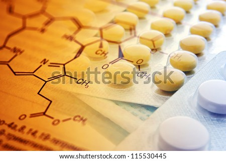 Chemistry science formula and tablets. Medicine symbol.