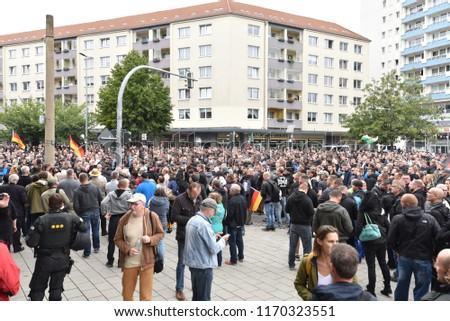 Chemnitz, Germany - September 01, 2018: Afd demonstration Trauermarsch #1170323551