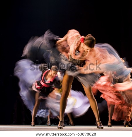 "CHENGDU, CHINA - DEC 28: The Ballet Troupe of Spanish Rafael Aguilar(Ballet Teatro Espanol de Rafael Aguilar) perform the best Flamenco Dance Drama ""Carmen"" at JINCHEN theater on Dec. 28, 2008 in Chengdu, China."