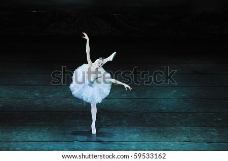 CHENGDU, CHINA - DECEMBER 23: Russian royal ballet perform Swan Lake ballet at Jinsha theater December 23, 2008 in Chengdu, China