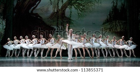 CHENGDU CHINA DECEMBER 25 Russian royal ballet's performance Swan Lake ballet at Jinsha theater December 25 2010 in Chengdu China