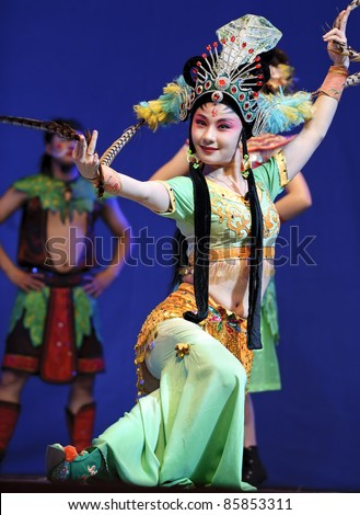 CHENGDU, CHINA - JULY 23: Chinese opera actress performs traditional drama onstage at Arts Academy theater of Sichuan on July 23, 2010 in Chengdu, China.
