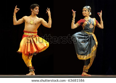 "CHENGDU, CHINA - OCT 24: Indian folk dance ""Shankara Sri Giri"" performed by Kalakshetra dance institute of India at Jincheng Theater during the festival of India in China on Oct. 24, 2010 in Chengdu, China."