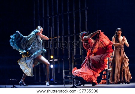 "CHENGDU - DEC 28: The Ballet Troupe of Spanish Rafael Aguilar(Ballet Teatro Espanol de Rafael Aguilar) perform the best Flamenco Dance Drama ""Carmen"" at JINCHEN theater DEC 28, 2008 in Chengdu, China."