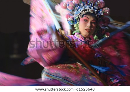 """CHENGDU - MARCH 2: Opera """"Mu Guiying"""" performed by JinQiao Opera Troupe at the stage in Yue Lai tea-house March 2, 2008 in Chengdu, China."""