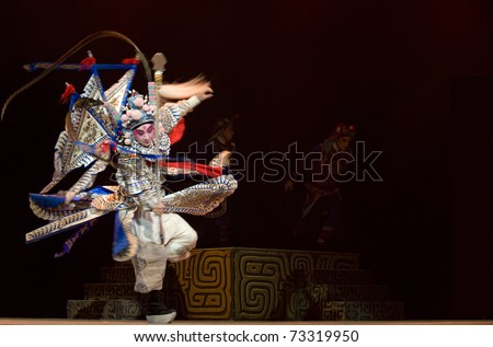 CHENGDU - OCT 26: Chinese opera actor performs traditional drama onstage at Jinsha theater.Oct 26, 2008 in Chengdu, China. The leading role is the famous opera actor Lin Weilin.