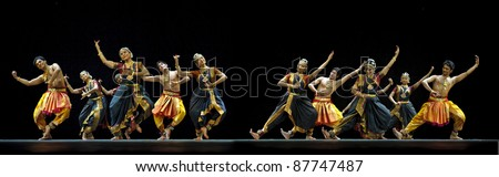 CHENGDU - OCT 24: Indian dancers perform folk dance onstage at JINCHENG theater during the festival of India in china on Oct 24,2010 in Chengdu, China.