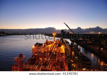chenical tanker is loading in the port