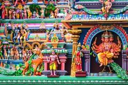 Chennai, India. Close view of religious figures of famous Arulmigu Kapaleeswarar Temple in Chennai the capital of Tamil Nadu, India