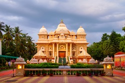 Chennai, India. Sri Ramakrishna Math historical building in Chennai, Tamil Nadu, India in the evening with cloudy sky