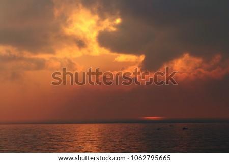 Chennai,Tamilnadu/India-02/13/2018:Golden Morning Sunrise in Marina beach....