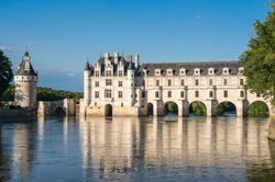 chenonceau castle at dusk, in the loire valley, france