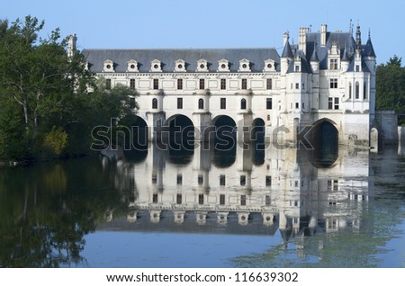 CHENONCEAU, FRANCE - AUGUST 19: Castle on August 19, 2012 in Chenonceau: It was built in 1513 by Katherine Briconnet, houses a collection of valuable paintings and striking good.