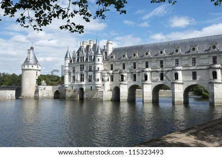 "CHENONCEAU, FRANCE - AUGUST 19: Castle on August 19, 2012 in Chenonceau: Known as ""the castle of the ladies"" was built in 1513 by K. Briconnet and is one of the most visited in the Loire Valley."