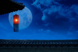 Cheongsachorong, a full moon and traditional lantern to be seen on Chuseok, the Korean Thanksgiving Day