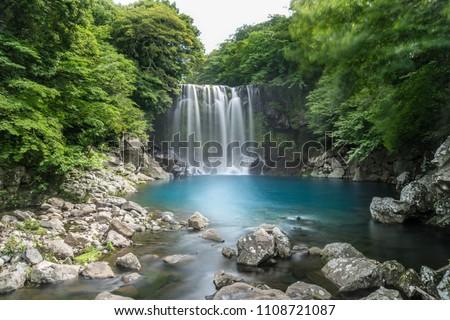Cheonjeyeon Waterfall on Jeju Island, South Korea #1108721087