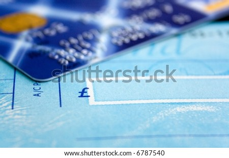 Cheque Book and Card Close up