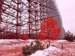 Chernobyl Radioactive landscape. Radar DUGA Unique old radar station in Chernobyl exclusion zone Ukraine. Soviet over-the-horizon radar system used as part missile defense early warning radar network.