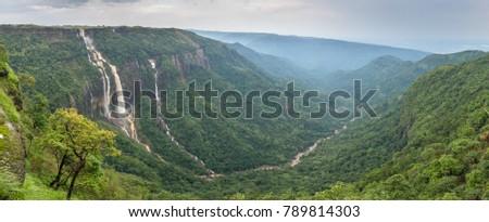 Cherrapunjee, Meghalaya, India. beautiful panorama of the Seven Sisters waterfalls near the town of Cherrapunjee in Meghalaya, North-East India.