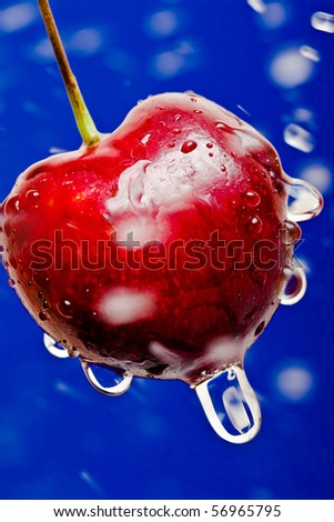 cherrie with hits drop of water