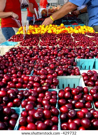 Cherries at a farmers' market
