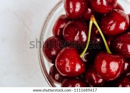 Cherries. Cherry. Cherries in glassr bowl. Red cherry. Fresh cherries. Cherry on white background. healthy food concept