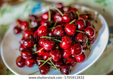 Cherries. Cherry Cherries in white bowl. Red cherry. Fresh cherries.