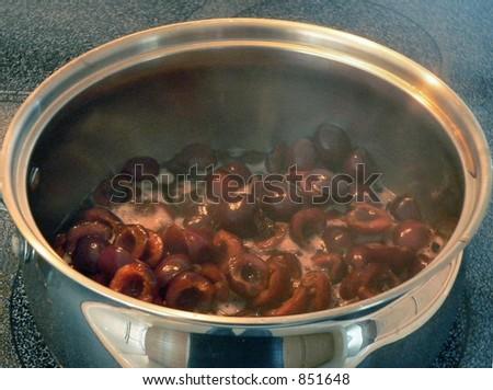 cherries cooking in saucepan