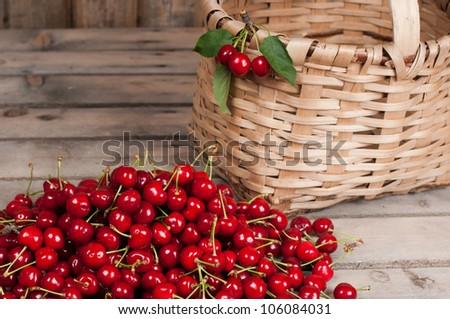 Cherries in a basket on a white background