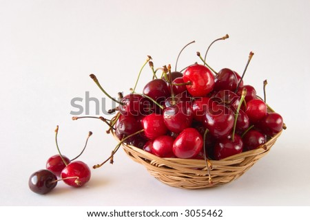 cherries in a basket with drop of water on white