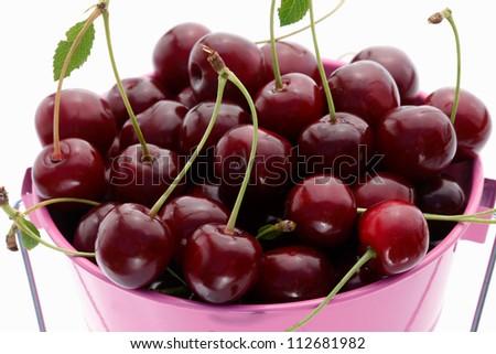 Cherries in bucket, top view