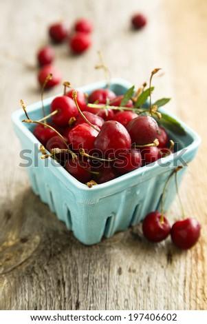 Cherries in market basket
