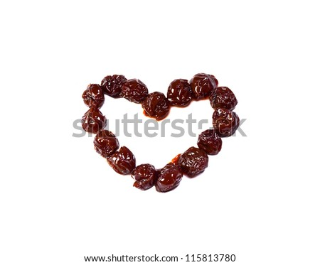 Cherries in shape of heart isolated on white background