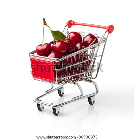 Cherries in Shopping Cart Shopping Cart Isolated On White Background